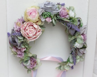 Pink Lilac flower crown Flower headband Flower hair wreath Flower halo Boho flower crown Bridal floral crown Floral crown Lavender