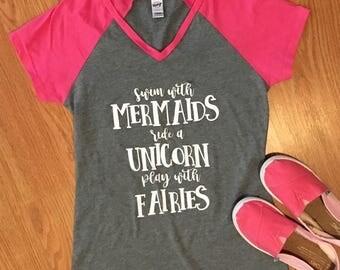 Mermaids, Unicorn, Fairies Girls Raglan