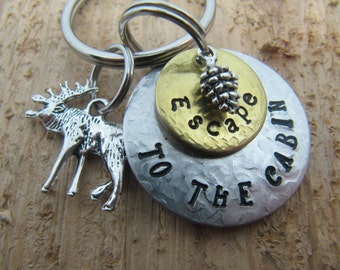 hand stamped key chain,Lake house keys, Escape to the cabin, gift for new house, cottage key chain, Cabin key chain, moose charm, northwoods