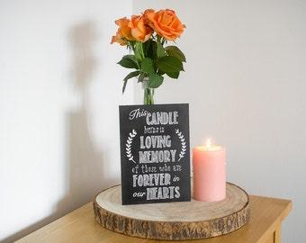 Wedding Chalkboard - Memory Candle // Chalkboard Wedding Sign // Reception Sign // Wedding Sign - A5 MDF Real Sign