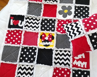 I LOVE U MINNIE MOUSE Baby Quilt, Baby Rag Quilt, Minnie Mouse Baby Blanket, Baby Shower Gift, Special Occasion Gift