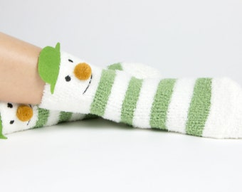 Snowman and snowflake fuzzy socks with pom poms boxed gift set