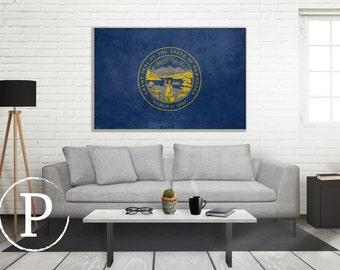 Nebraska Flag Canvas, Single Panel Large Canvas, Three Panel Large Canvas, Nebraska Flag, Large Canvas Wall Art, Vintage Flag on Canvas