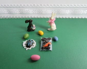 Miniature Dollhouse Chocolate Rabbits and Egg/ Colored eggs (Set of 8)
