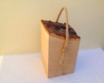Solid Wood doorstop. Bark top. Live edge natural Hardwood door stopper - sash cord rope handle. Timber door stop. Classic Wooden Doorstop.