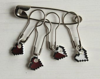 8-bit heart Zelda themed stitch markers for knitting and crochet projects