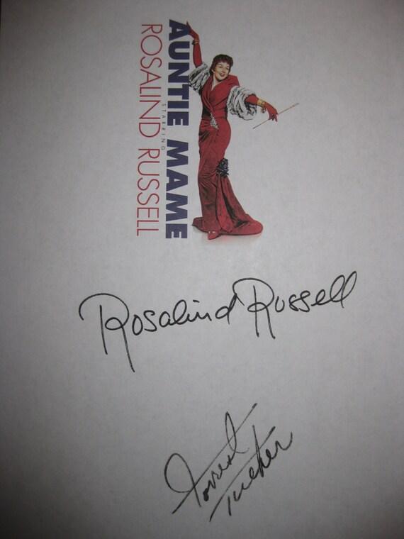 Auntie Mame Signed Movie Film Screenplay Script Autograph Rosalind Russell  Forrest Tucker signature classic film 1958 era