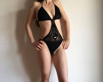 women's crochet crochet bikini swimsuit trikini sea estate