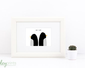Penguin Couple Print, you + me, gift, home, animals