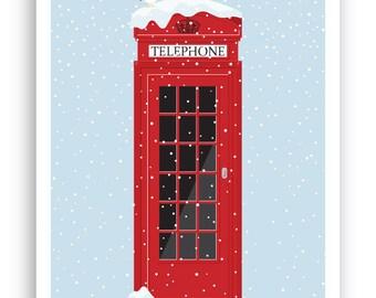 Winter Londonland – London phone box Christmas Card