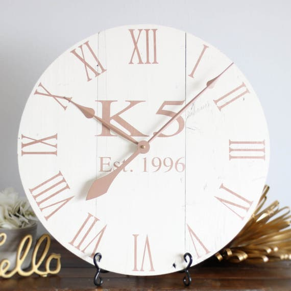 Shabby Chic Rose Gold Wall Clock