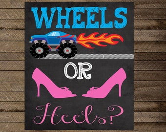 wheels or heels gender reveal party, gender reveal chalkboard, wheels or heels chalkboard, wheels or heels gender reveal sign, boy or girl