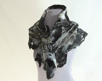 woolen scarf, black and white scarf, felted scarf, cobweb scarf, 100% wool scarf, hand felted neck piece, net like scarf, light soft scarf