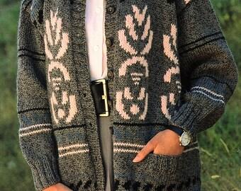 Ladies Fair Isle Cardigan, Knitting Pattern. PDF Instant Download.