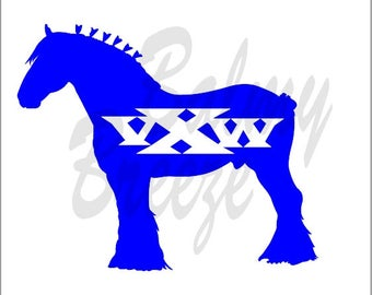 HI - 8 Clydesdale with Initials  Vinyl Decal