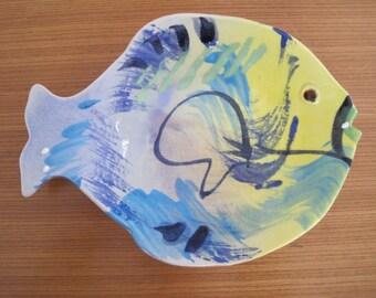 "Ceramic Fish Wall Hanging, 10"" x 7.25"", J. Rue, Naples, FL, Vintage"