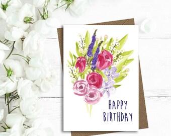 Happy birthday card, birthday card, floral birthday card, mum birthday card, wife birthday card, friend birthday card