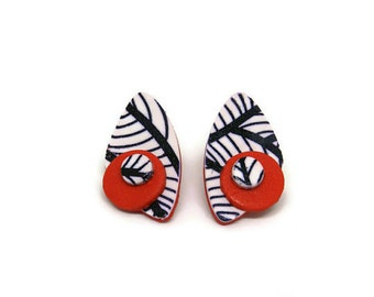 Big stud earrings red, Large statement earrings, Red stud earrings, Large stud earrings, Abstract earrings, Black and white earrings,