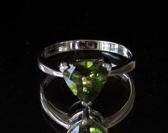 Sterling silver Olivine Peridot gemstone ring birthstone August