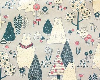 Japanese Fabric, Bear Fabric, Owl Fabric, Cotton Canvas, Cotton Duck, Buzoku, Gray, Woodland, Forest Animals, Half Metre