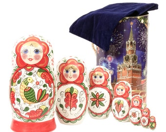 "Russian Nesting Doll - BIG SIZE - 7 dolls in 1 - Russian North Traditional Patterns - ""North Dvina white with Bird"" - Hand Painted in Russia"
