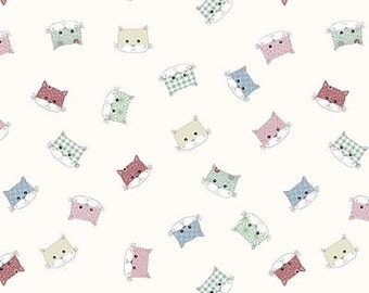 Down Town Kitty - ST4500-240 - Kitty Faces, Natural - Stof A/S Fabrics