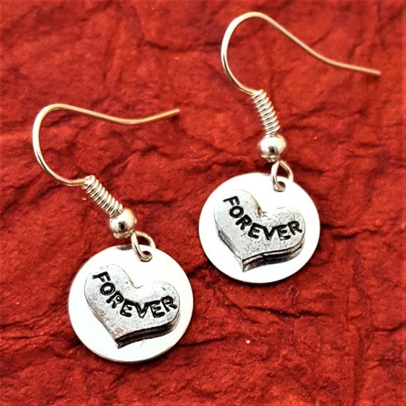LDS Jewelry, Forever Gift Earrings, LDS Wedding Gift Wife Engagement Gift, Together Forever Charm, First Anniversary Gift, Valentine's Day