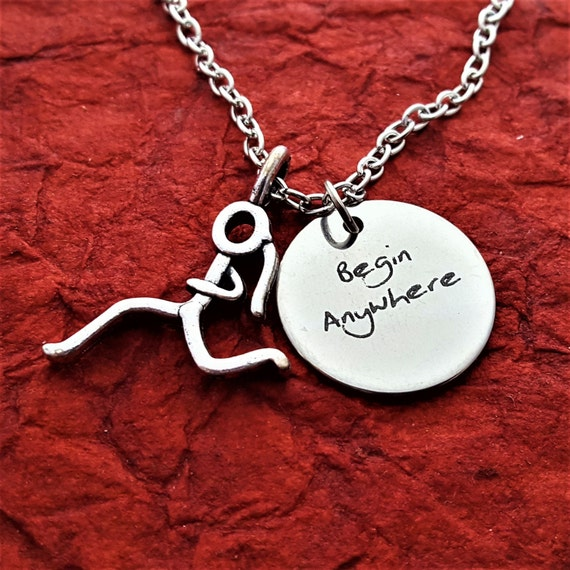Gift for Runners, Fitness Gifts, Begin Anywhere Charm, CrossFit Gift, Gift for Coach Trainer, Triathlon Marathon Charms, Motivational Gift