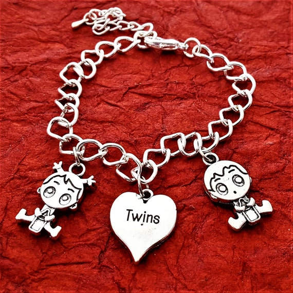 Twins Jewelry, Twins Charm Bracelet, Mother of Twins Gift, Boy Girl Charm, Mom of Triplets, Gift for Mom, Custom Twins Birthday Jewelry