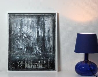 Abstract art, acrylic painting 50 x 60 cm framed