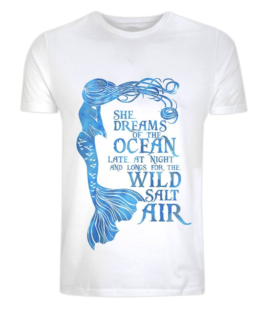 Design your own ethical t shirt - Organic Cotton Mermaid Top Eco Ethical Sustainable Surf Ocean Eco Tee She Dreams Of The Ocean Mermaid T Shirt Size Xs 5xl