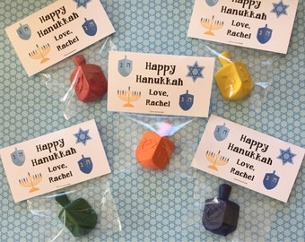Happy Hanukkah Personalized Crayon Favors Dreidel Crayons class gifts Happy Holidays