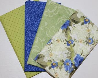 SALE - 4 Fat Quarters - prewinkle and light green - cotton fabric