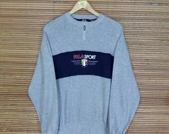 Vintage 1990's FILA SPORT Pullover Sweater Large Gray Fila Big Logo Sportswear Fila Biella Italia Crewneck Jumper Sweatshirt Size L