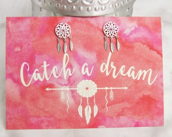Dreamcatcher Earrings - Silver Stud Earrings - Gift for Friend - Dreamcatcher Jewellery - Inspirational Quote - Gift for Her - Dream Catcher