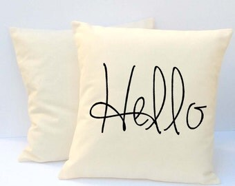 Pillow,  Pillow with saying, Hello Pillow, Word Pillow