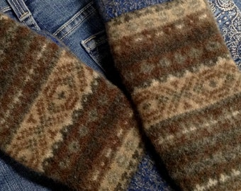 Favourite jeans felted wool sweater mittens, Upcycled sweater mittens, Felted sweater mittens, Ladies upcycled mittens, Fleece lined mittens