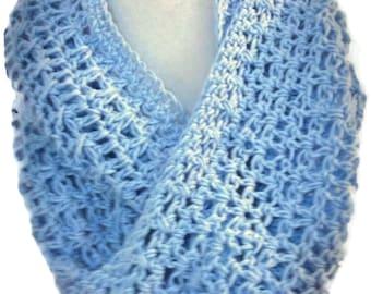 Blue cotton crocheted circle scarf Light blue cotton infinity scarf Eggshell blue circle scarf. Patterned. Eggshell blue crocheted scarf