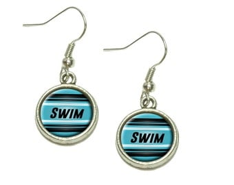 Swim As Fast As You Can Dangling Drop Charm Earrings