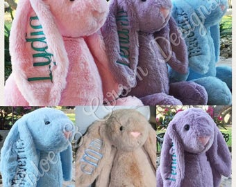 Personalized Monogrammed plush stuffed animal toy bunnies Easter