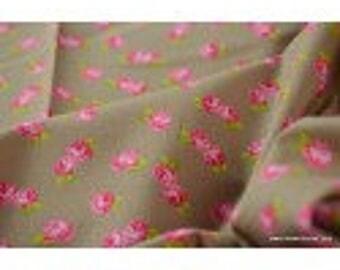 Printed cotton Poplin pink background beige x50cm