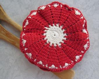 Vintage Hand Knit Coaster / Pot Holder