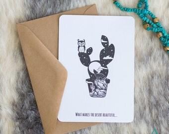 Post Card | Rectangular | A6 | Illustration | Desert | Coyote | Cactus | Moon | Hipster | Rustic | Boho | Greeting Card