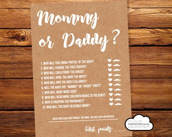 Mom or Dad Quiz // Mommy vs Daddy Quest // Mom Vs Dad Trivia // Kraft// Heart & Moustache // Printable