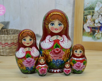 Hand made nesting dolls, Mother's day gift, Russian matryoshka, Gift for woman, Hand painted babushka doll,  Wooden stacking dolls
