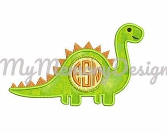Monogram Applique Design - Back to the school embroidery design - Dino embroidery design - Instant download machine embroidery design