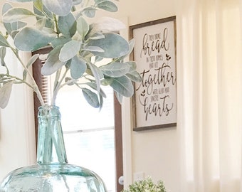 They broke bread in their home and ate together with glad and soncere hearts- farmhouse sign- farmhouse decor- farmhouse- dining room signs