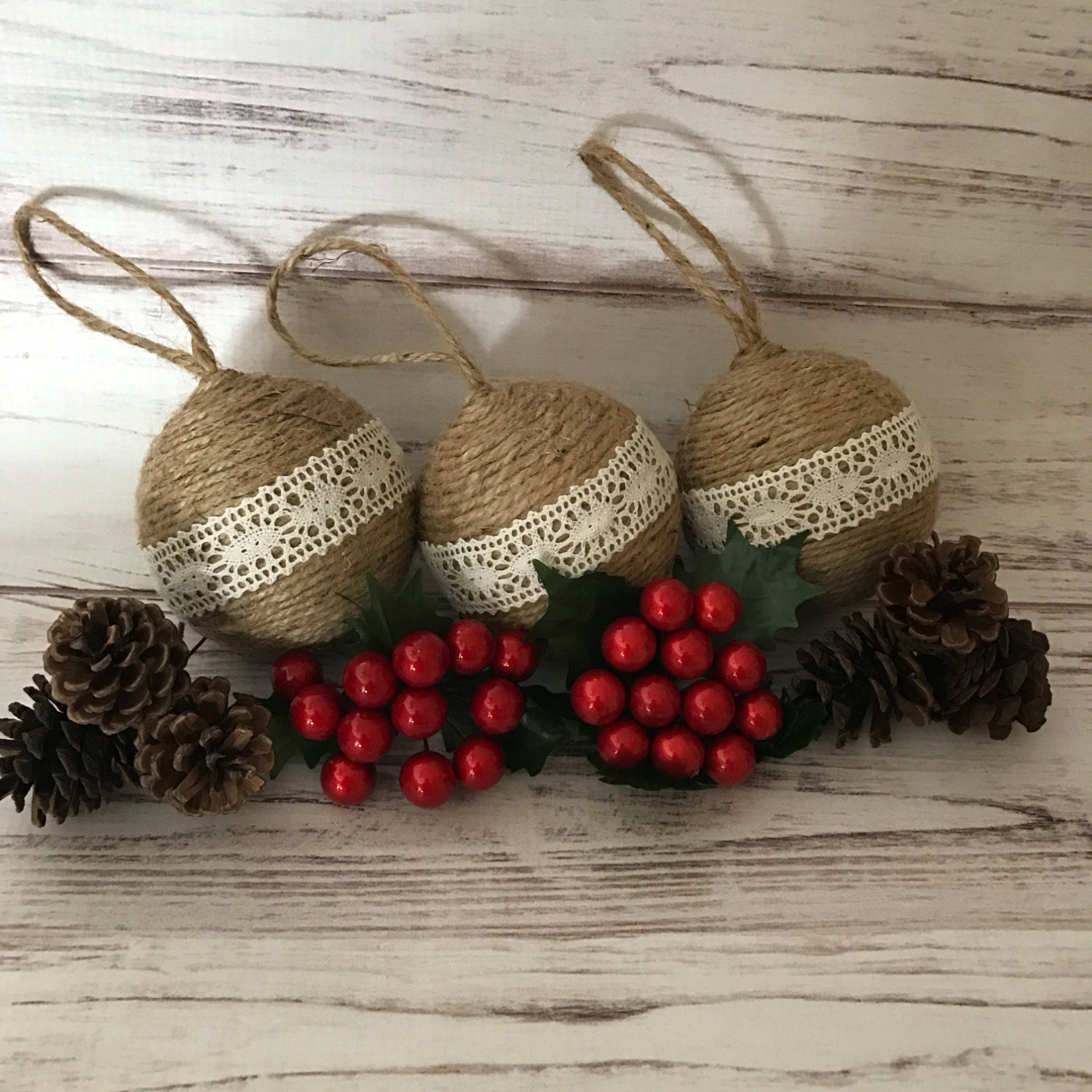 Rustic Christmas Ornaments Twine Christmas Ornaments