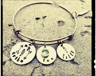 My Tribe -Mama's Tribe Bracelet - Hand Stamped Name Charms/Feather & Arrow Stamps/Swarovski Crystal Birthstone/Stainless Steel/Gift for Mom