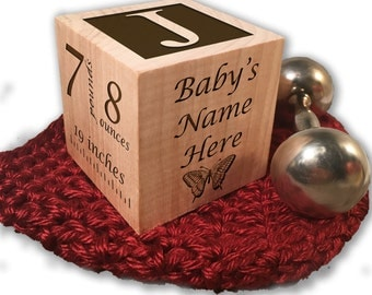 Custom Made Personalized Baby's First Birthday Gift Block 1st Birthday Gift Wooden BlocK